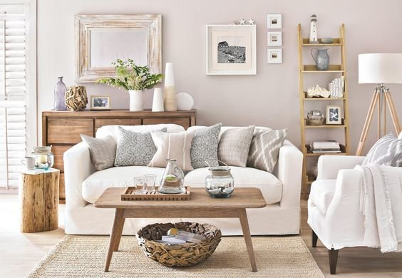 salon scandinave beige blanc bois textile budget d co style scandinave bois textile en beige. Black Bedroom Furniture Sets. Home Design Ideas