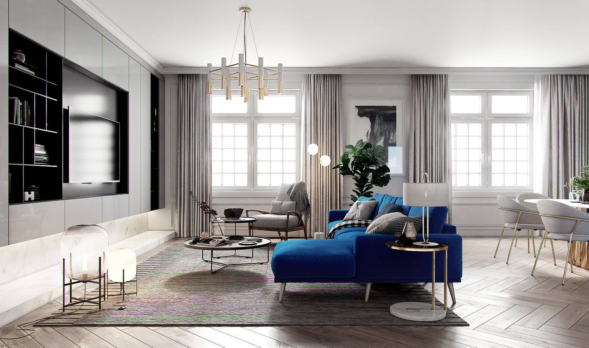 salon s jour contemporain classique gris bleu blanc. Black Bedroom Furniture Sets. Home Design Ideas