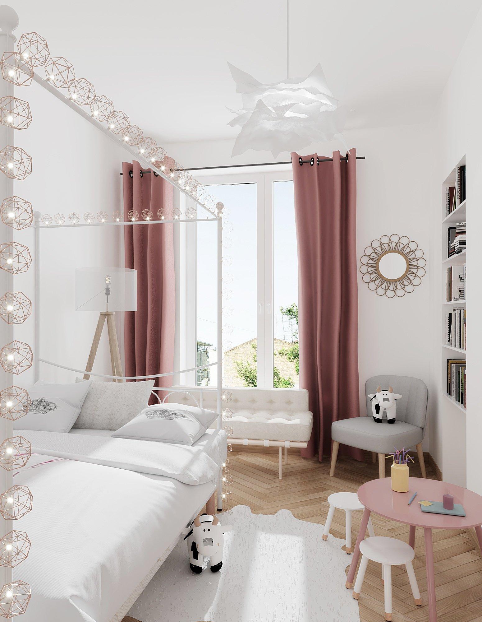 Chambre d\'enfant scandinave blanche rose : inspiration style Scandinave