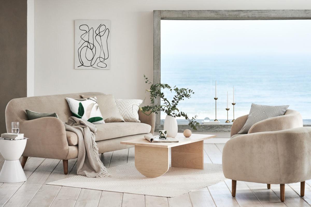 Salon contemporain rose blanc beige gris velours bois textile
