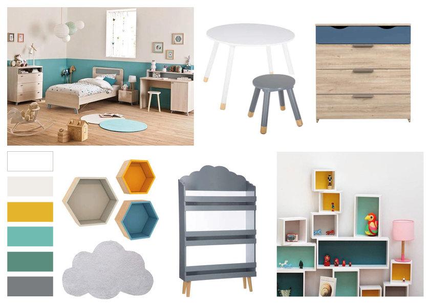 Chambre d\'enfant scandinave bleu beige orange : inspiration style ...