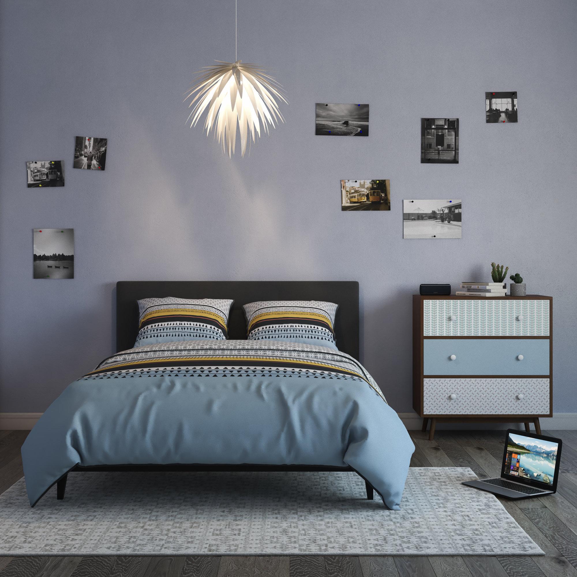 Chambre scandinave bleue grise marron inspiration style - Chambre bleu gris blanc ...