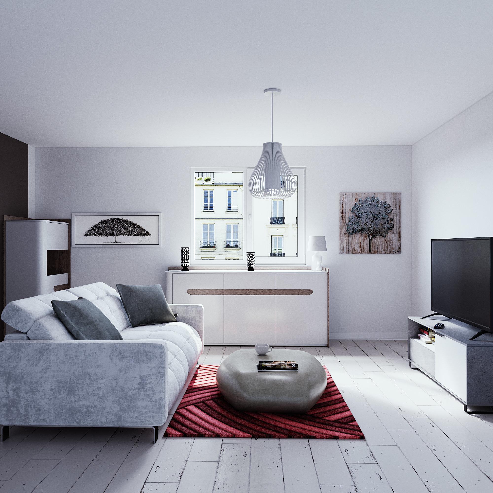 Salon contemporain blanc rouge gris : inspiration style Contemporain
