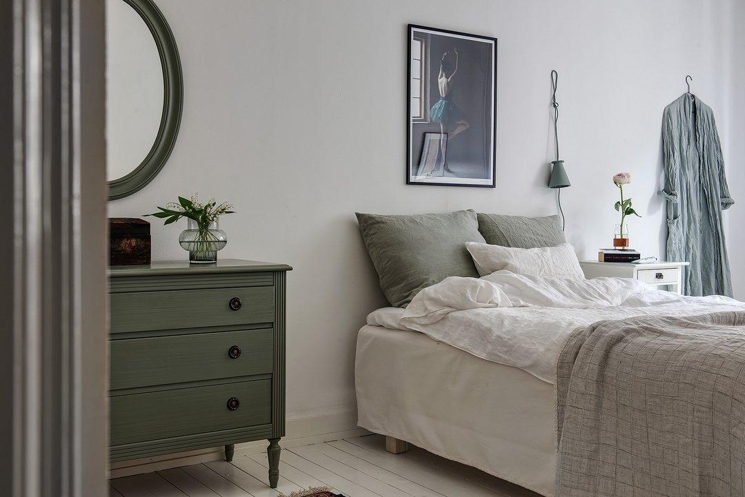 Chambre Scandinave Vert,Marron,Blanc Bois,Parquet,Textile,Peinture ...