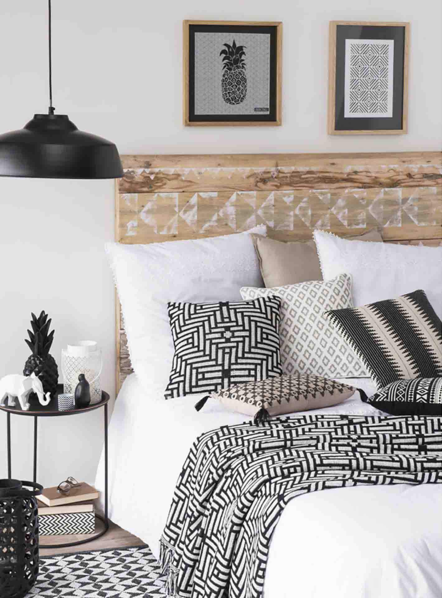 Chambre Contemporain Noir,Blanc,Beige Métal,Textile: budget déco ...