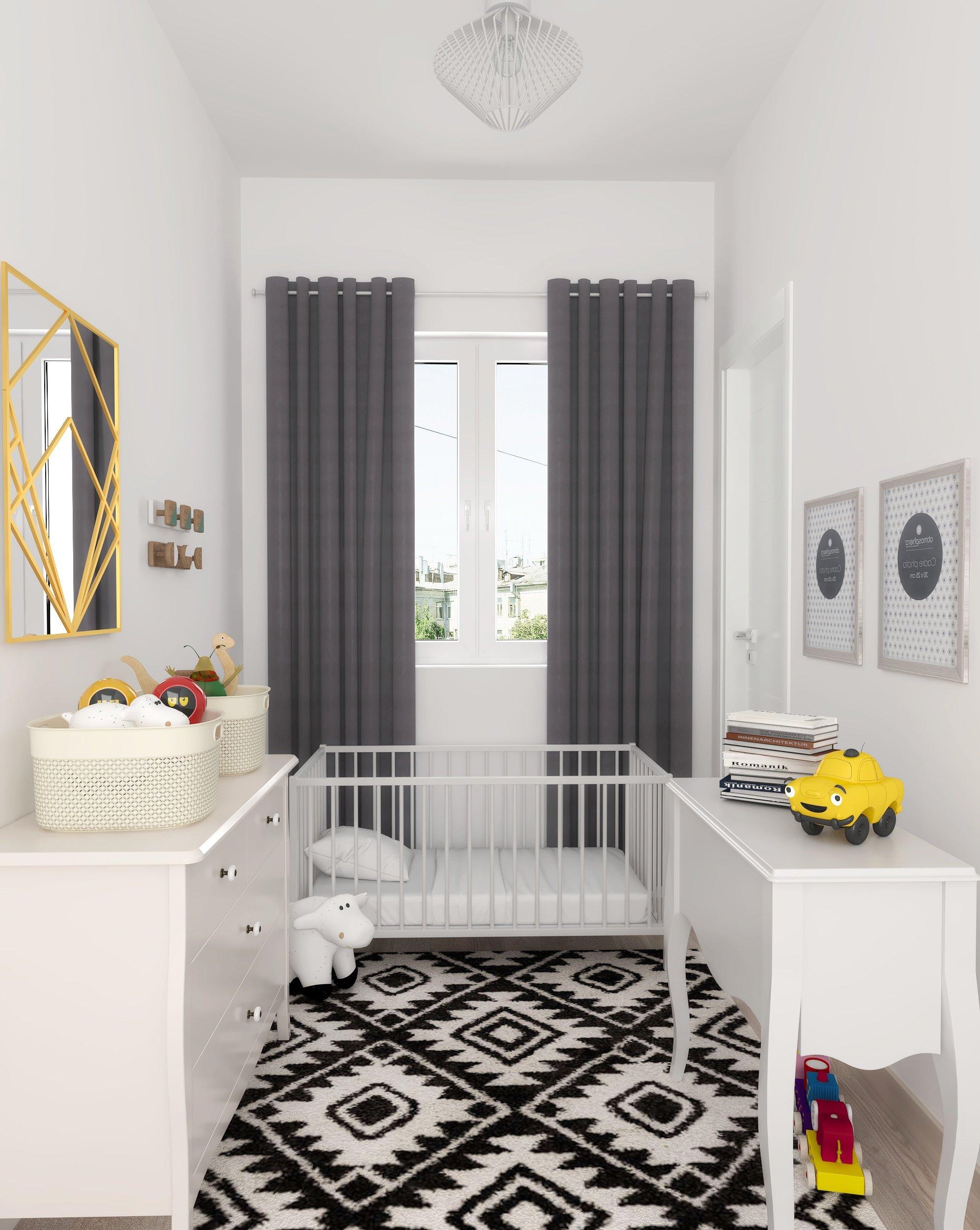 Chambre d\'enfant scandinave blanche noire grise dorée : inspiration ...