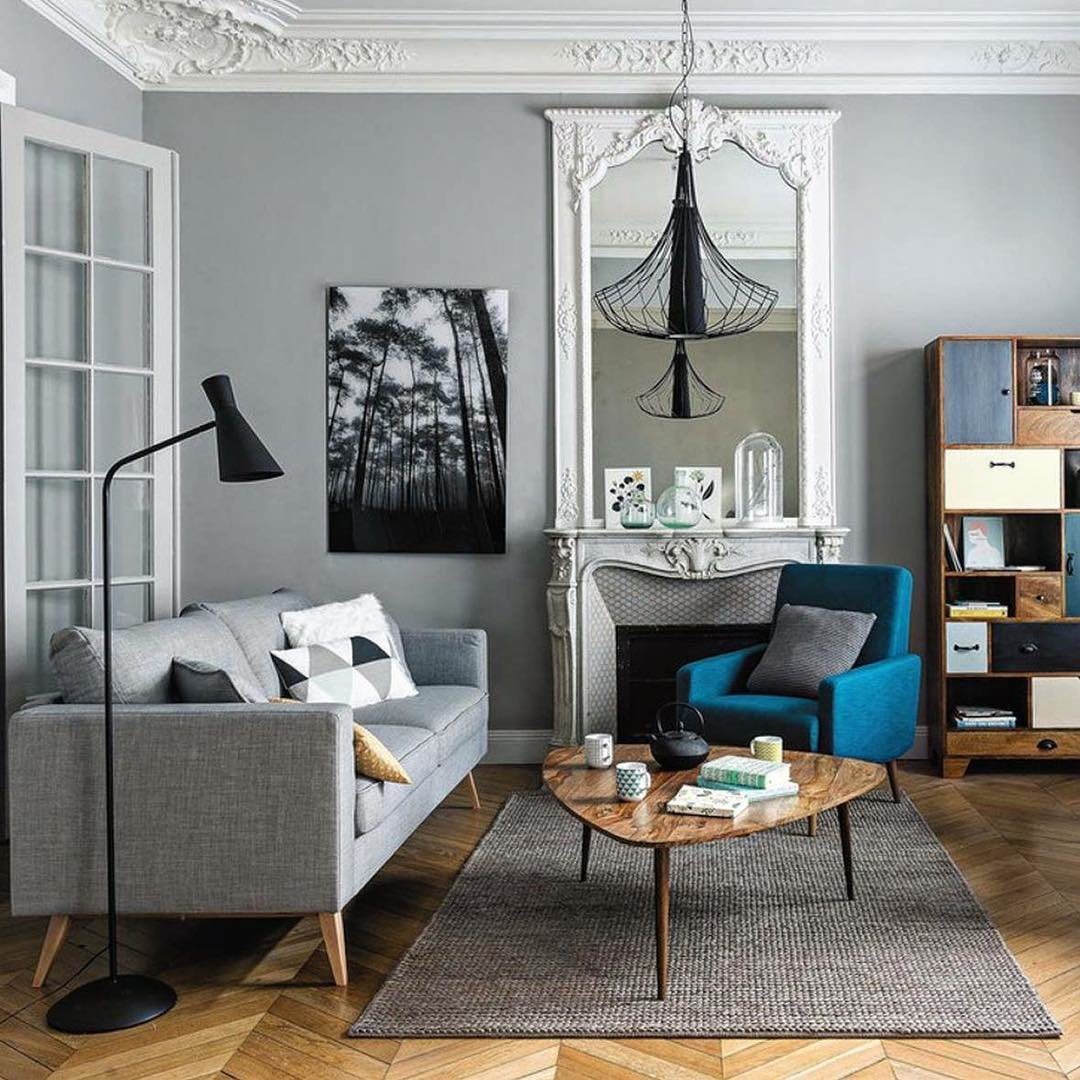 Chambre classique chic inspiration style classique for Salon scandinave bleu
