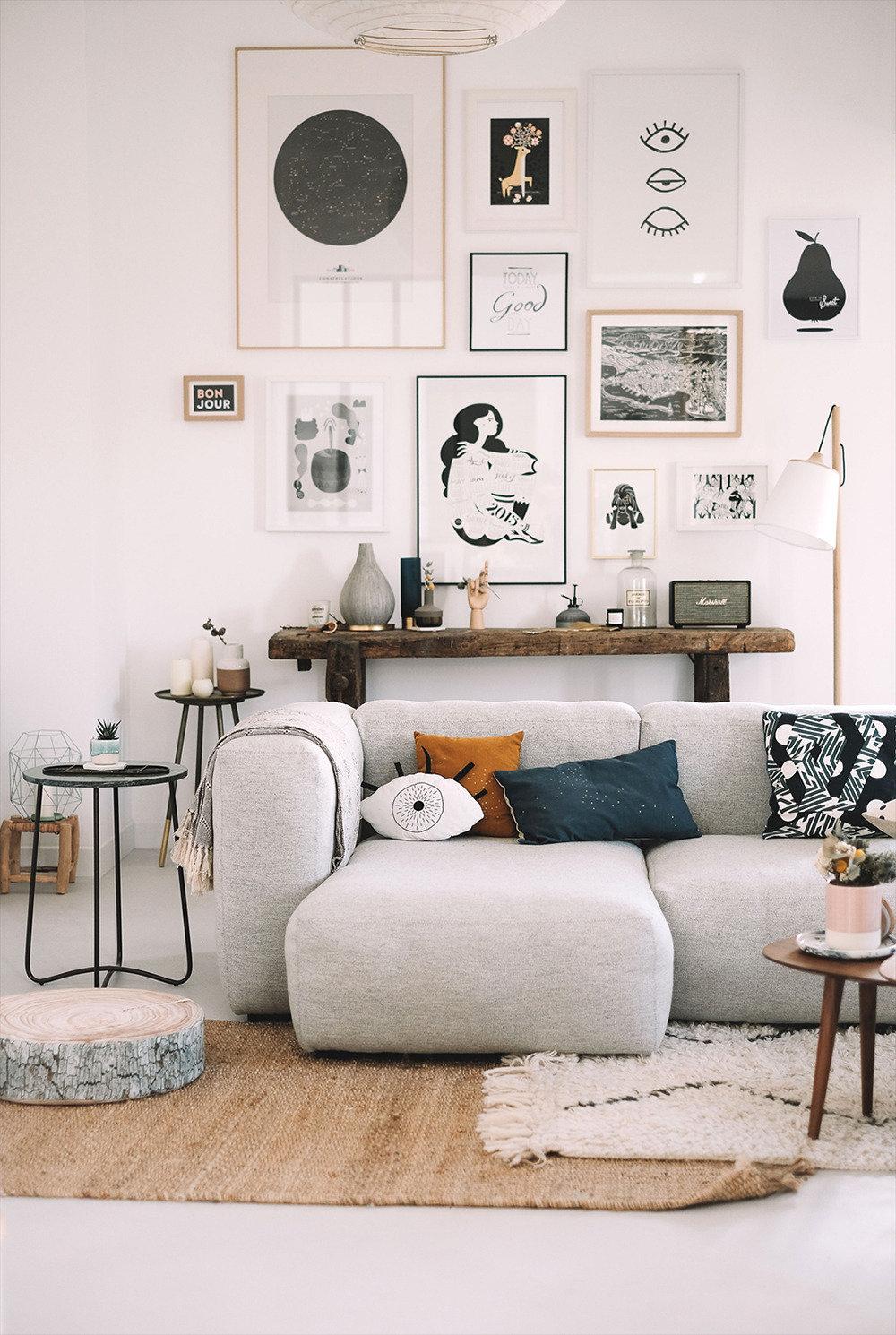 Salon scandinave blanc gris beige marron noir bois métal