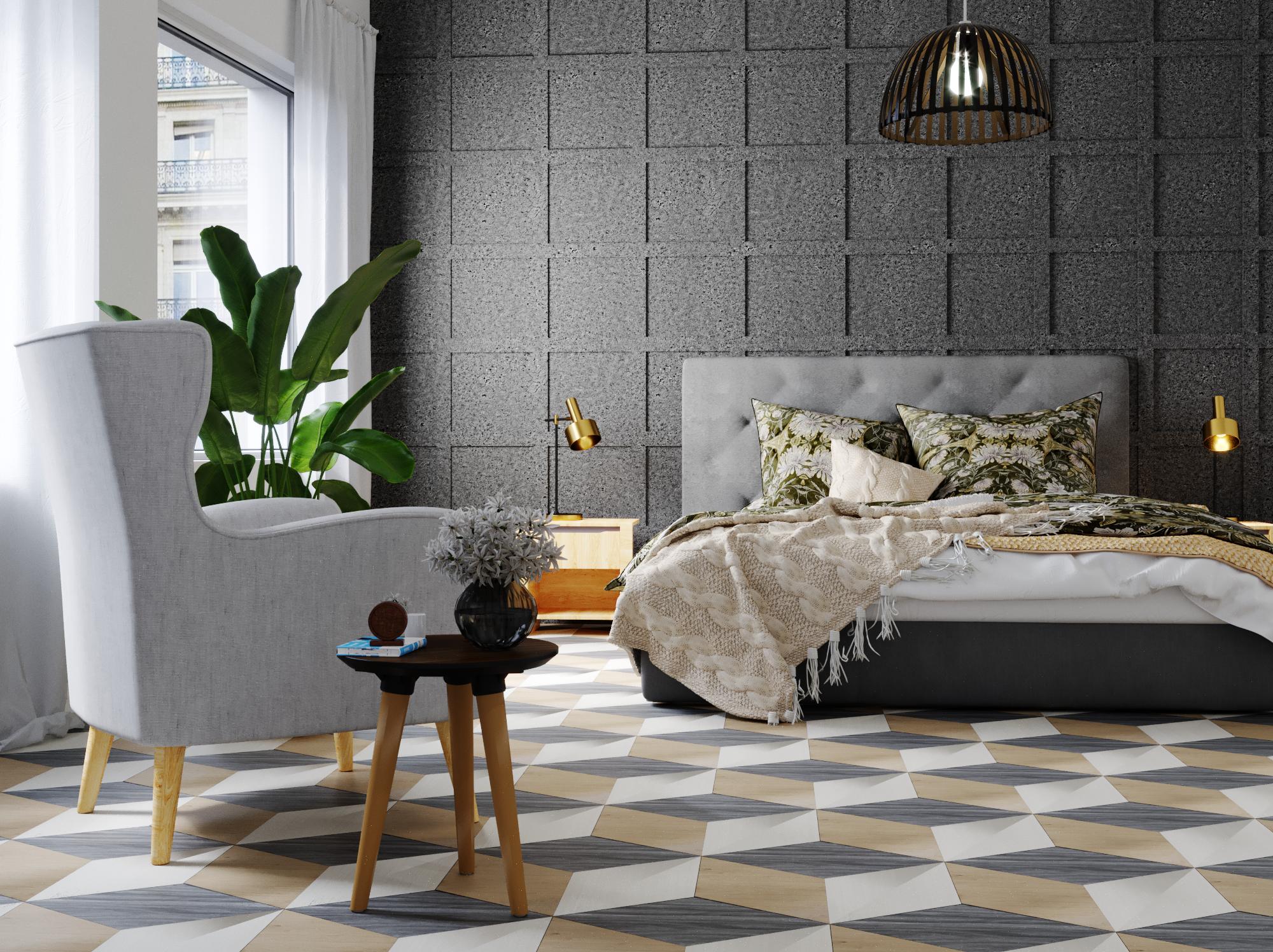 Chambre scandinave industrielle contemporaine grise beige blanche ...
