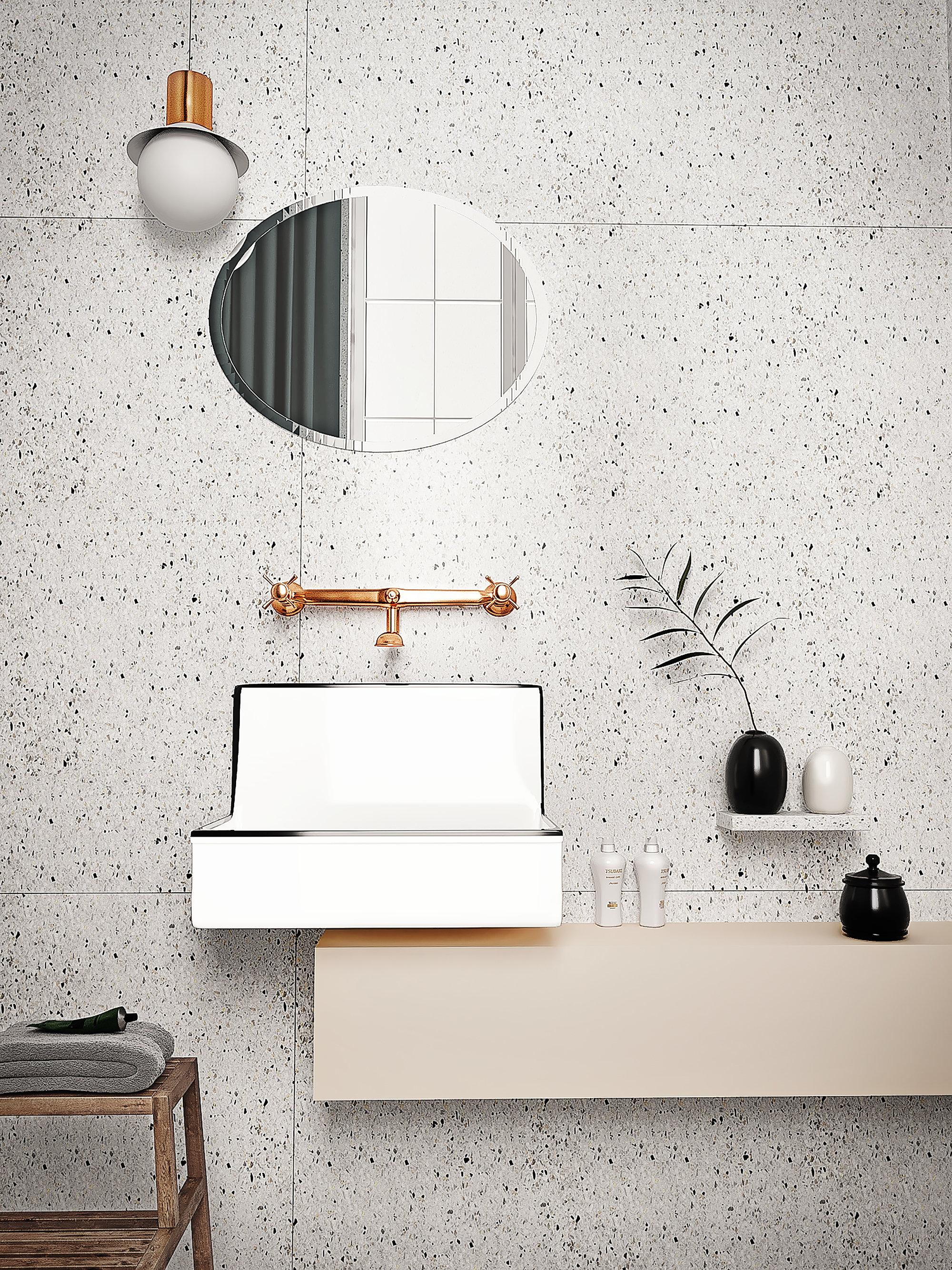 Salle De Bain Blanc Gris Et Noir ~ La Salle De Bain Terrazzo Inspiration Style Contemporain