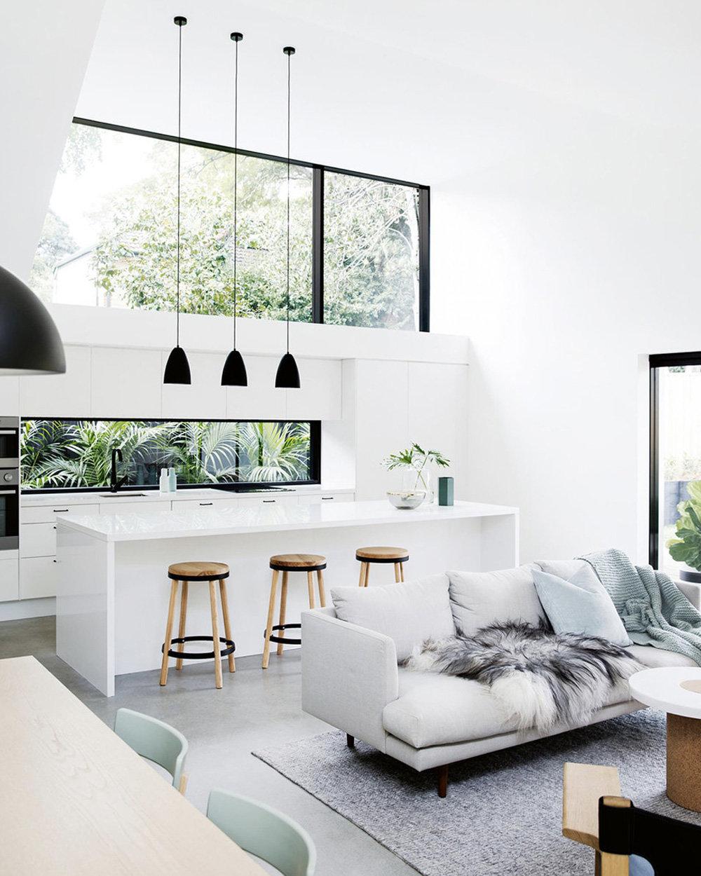 salle manger salon contemporain nature bleu vert blanc noir marron bton cir bois peinture fourrure