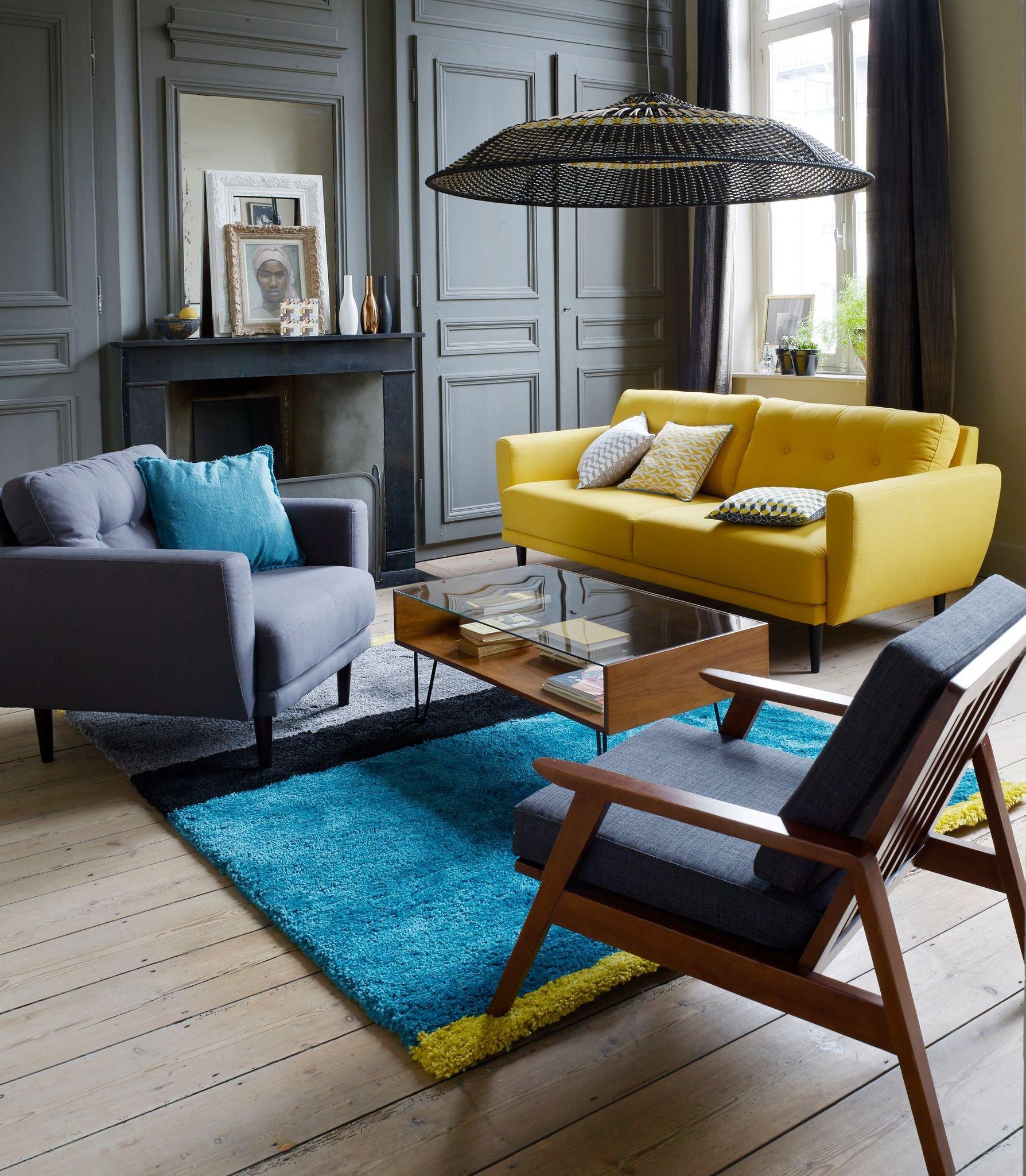 Salon vintage jaune gris bleu bois textile