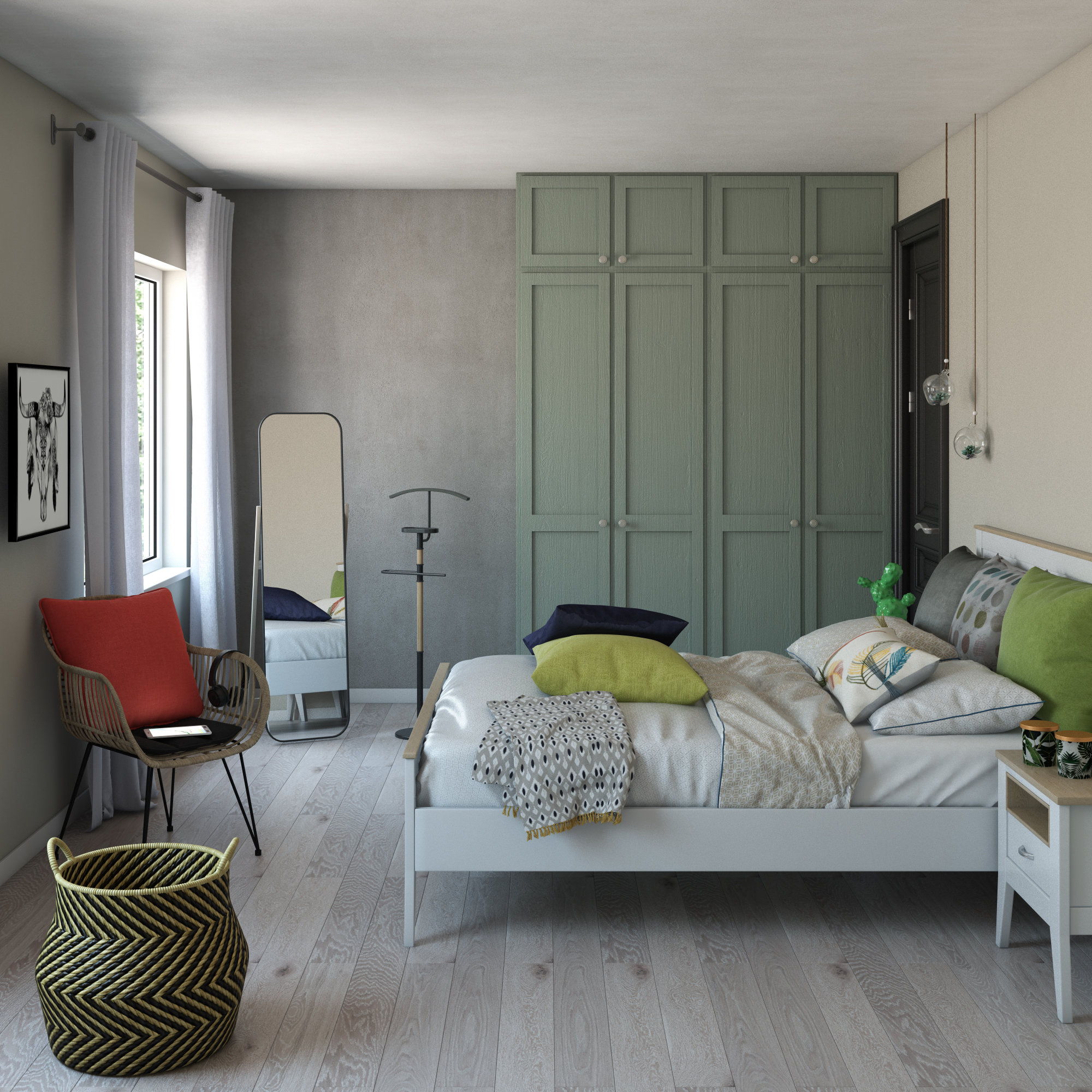 Chambre nature verte blanche rouge : inspiration style Nature