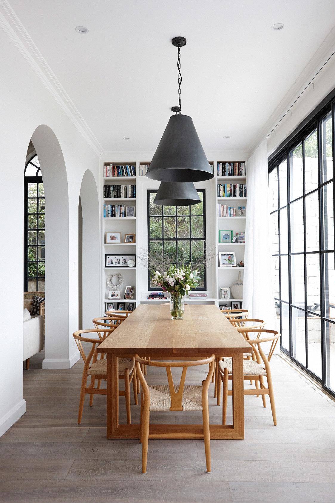 Salle à manger scandinave contemporain marron blanc beige noir bois ...
