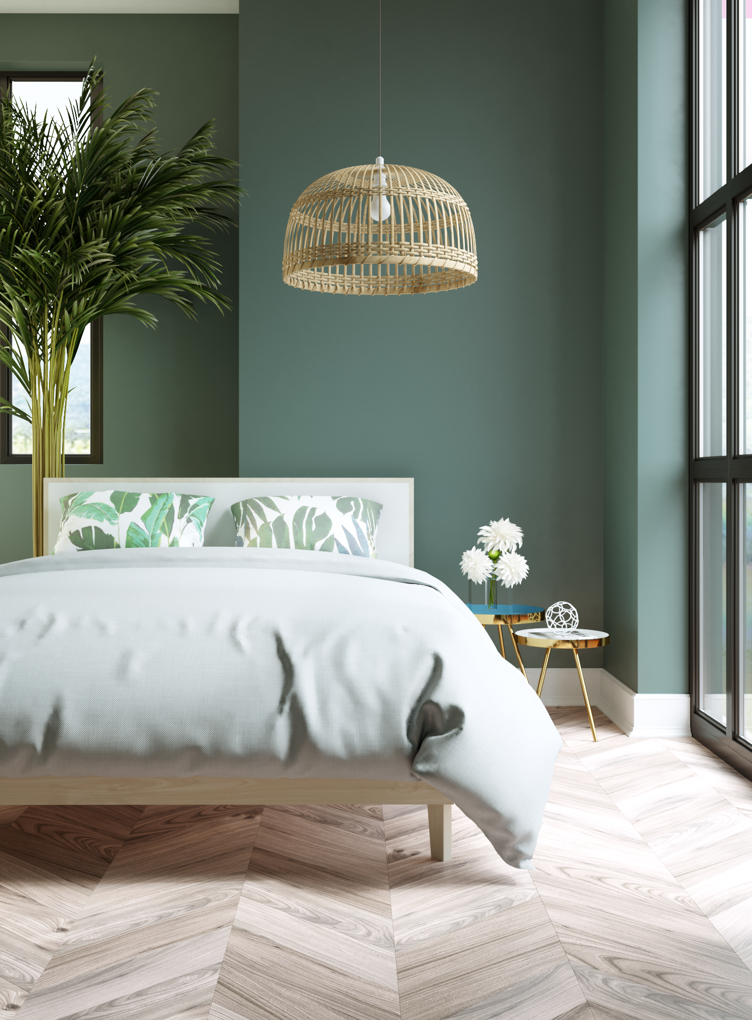 Chambre scandinave exotique verte beige blanche: inspiration style ...