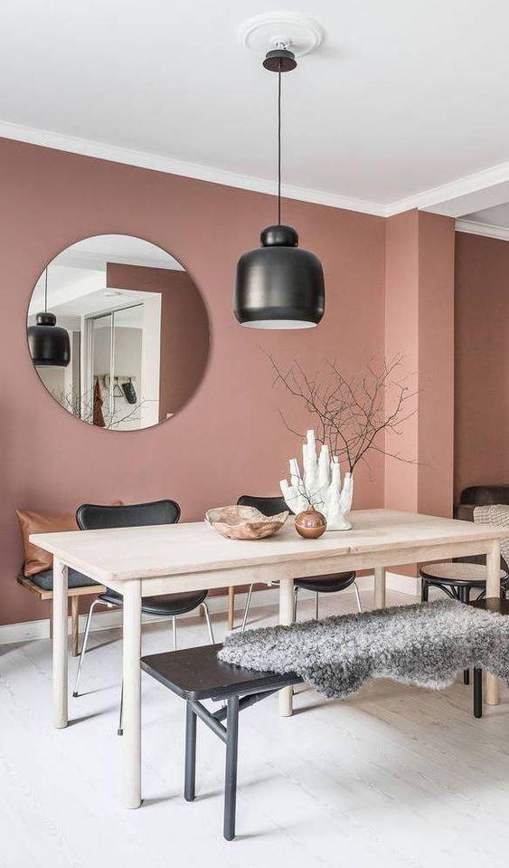 Salle à Manger Scandinave Rose,Noir,Beige Bois,Textile