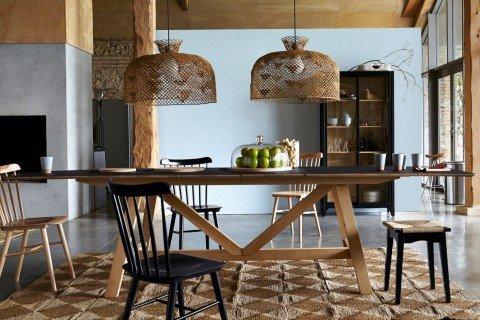Salle à manger Contemporain,Ethnique Noir,Camel,Gris Bois,Rotin