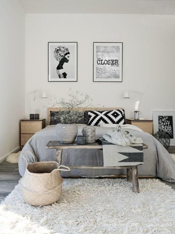 Chambre Bohème Gris,Beige Bois,Osier,Textile: budget déco style Bohème