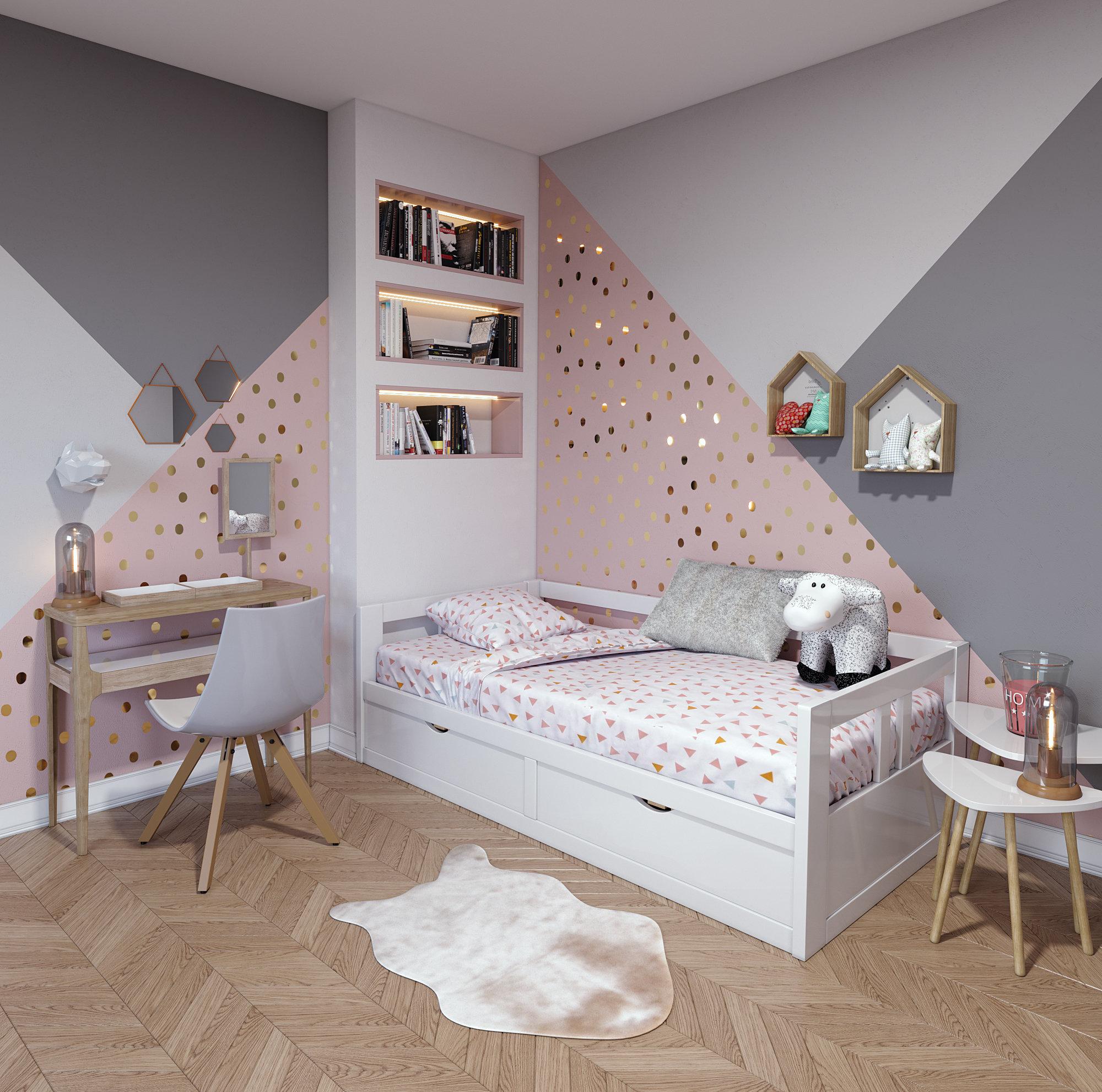 Chambre d\'enfant contemporaine rose blanche beige bois: inspiration ...