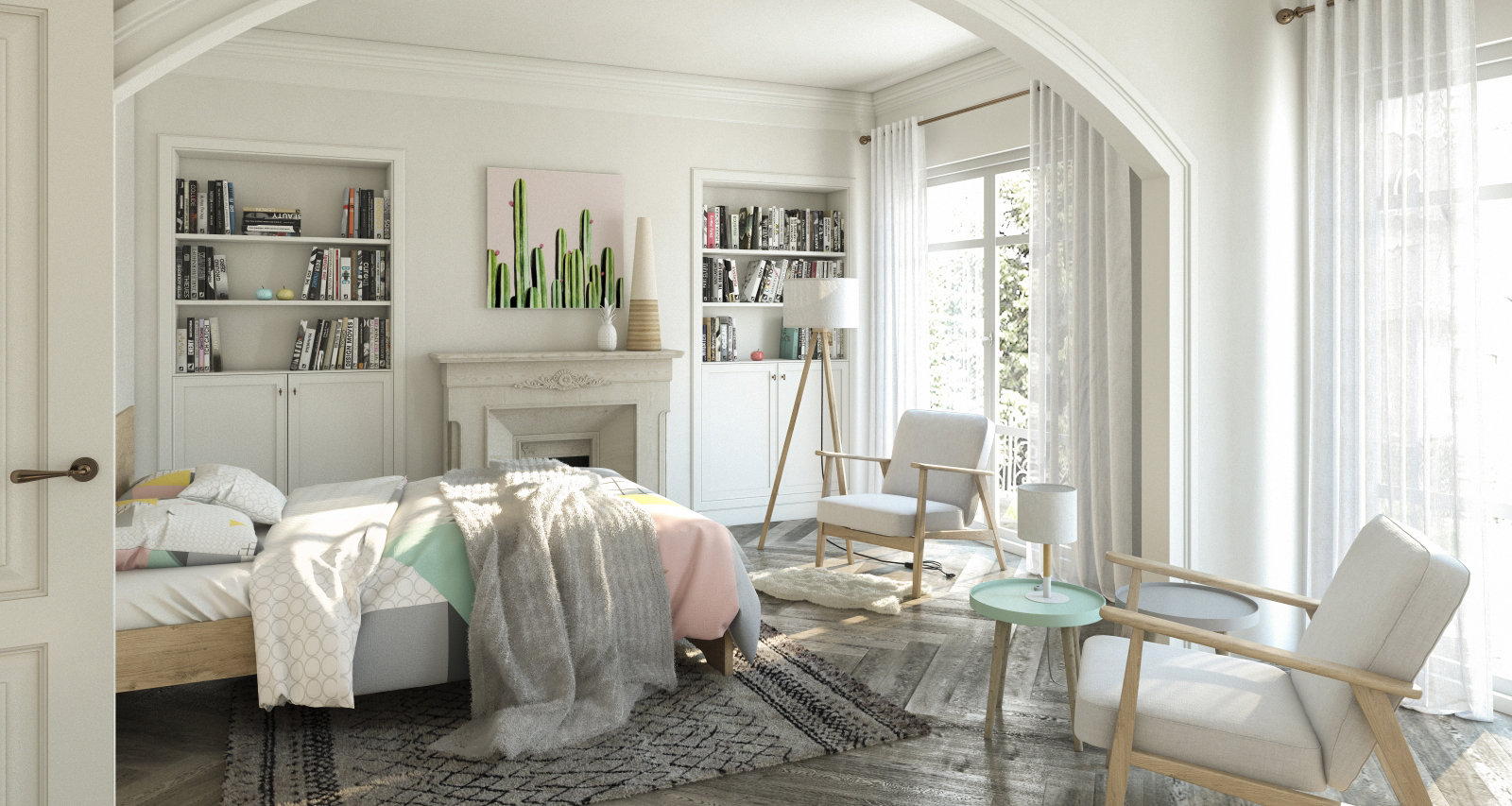 Chambre scandinave blanche beige: inspiration style Scandinave