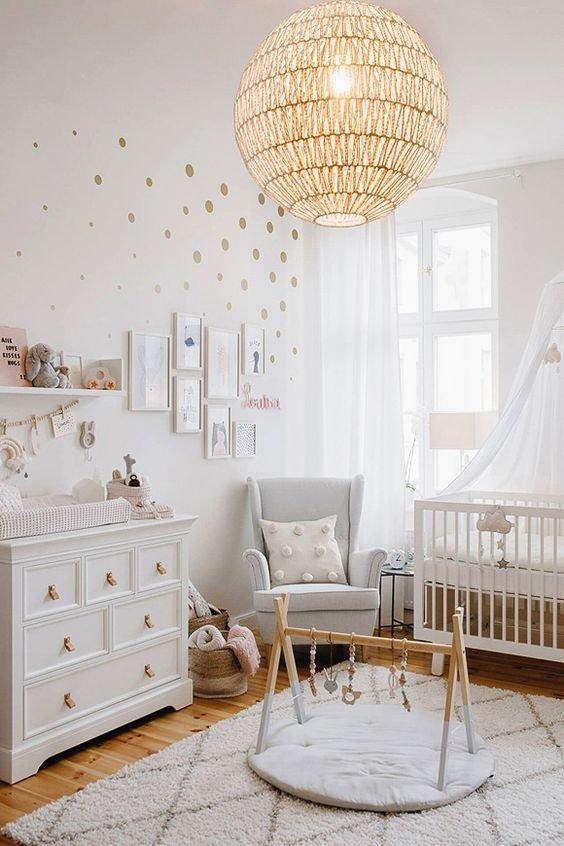 Chambre d'enfant Bohème,Classique Gris,Rose,Blanc Textile,Rotin,Bois
