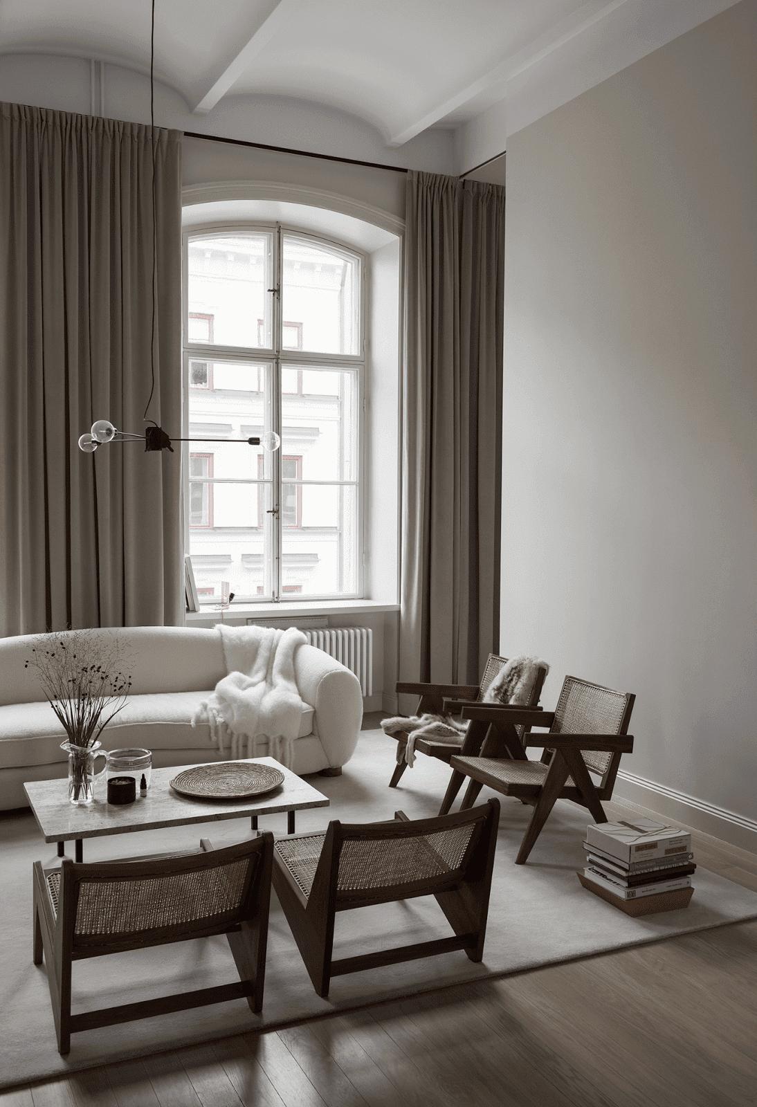 Salon contemporain beige blanc gris textile marbre métal bois