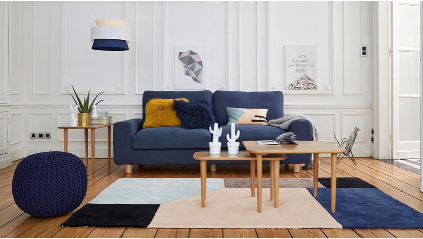 salon scandinave contemporain bleu rose jaune bois textile budget d co style scandinave. Black Bedroom Furniture Sets. Home Design Ideas