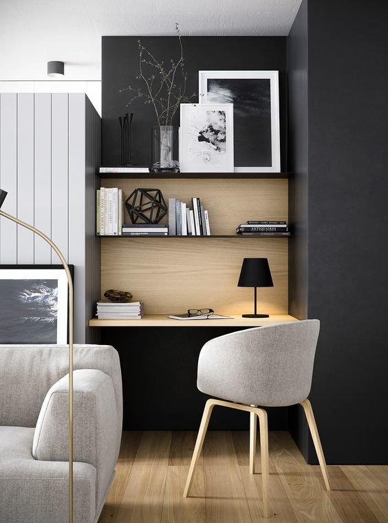 Bureau salon contemporain noir gris marron blanc doré bois parquet ...