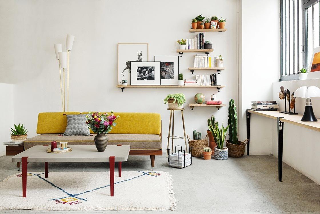 Salon vintage bohème bleu jaune orange rouge marron blanc noir vert ...