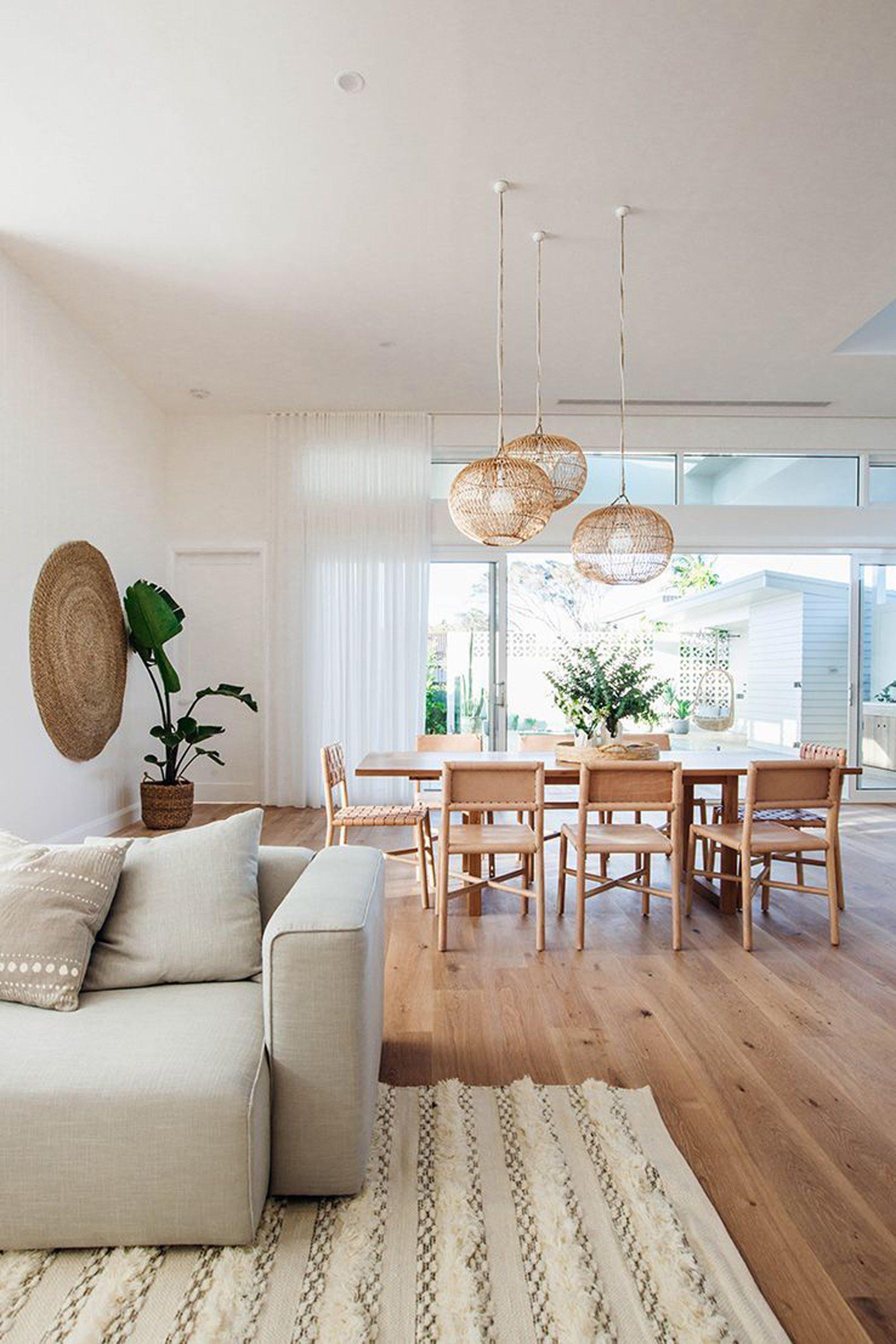 salon s jour salle manger boh me scandinave blanc gris beige bois parquet osier textile. Black Bedroom Furniture Sets. Home Design Ideas