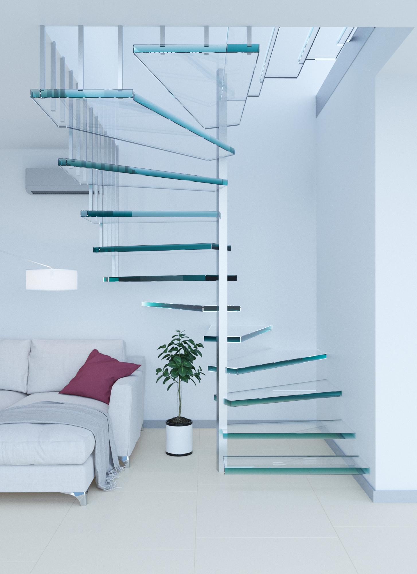 Les escaliers en verre