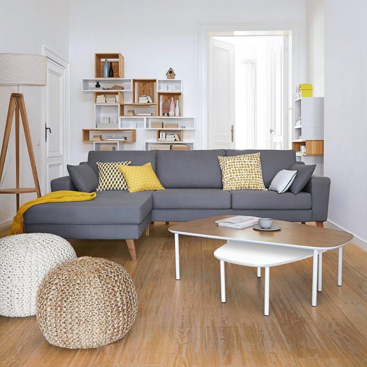 Salon Scandinave Blanc,Gris,Jaune Bois,Parquet,Textile