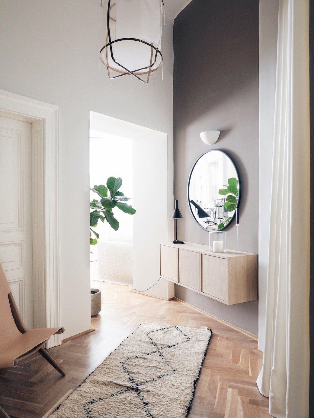 Hall d'entrée Scandinave,Minimaliste Marron,Blanc,Noir,Beige Bois,Parquet,Textile,Miroir