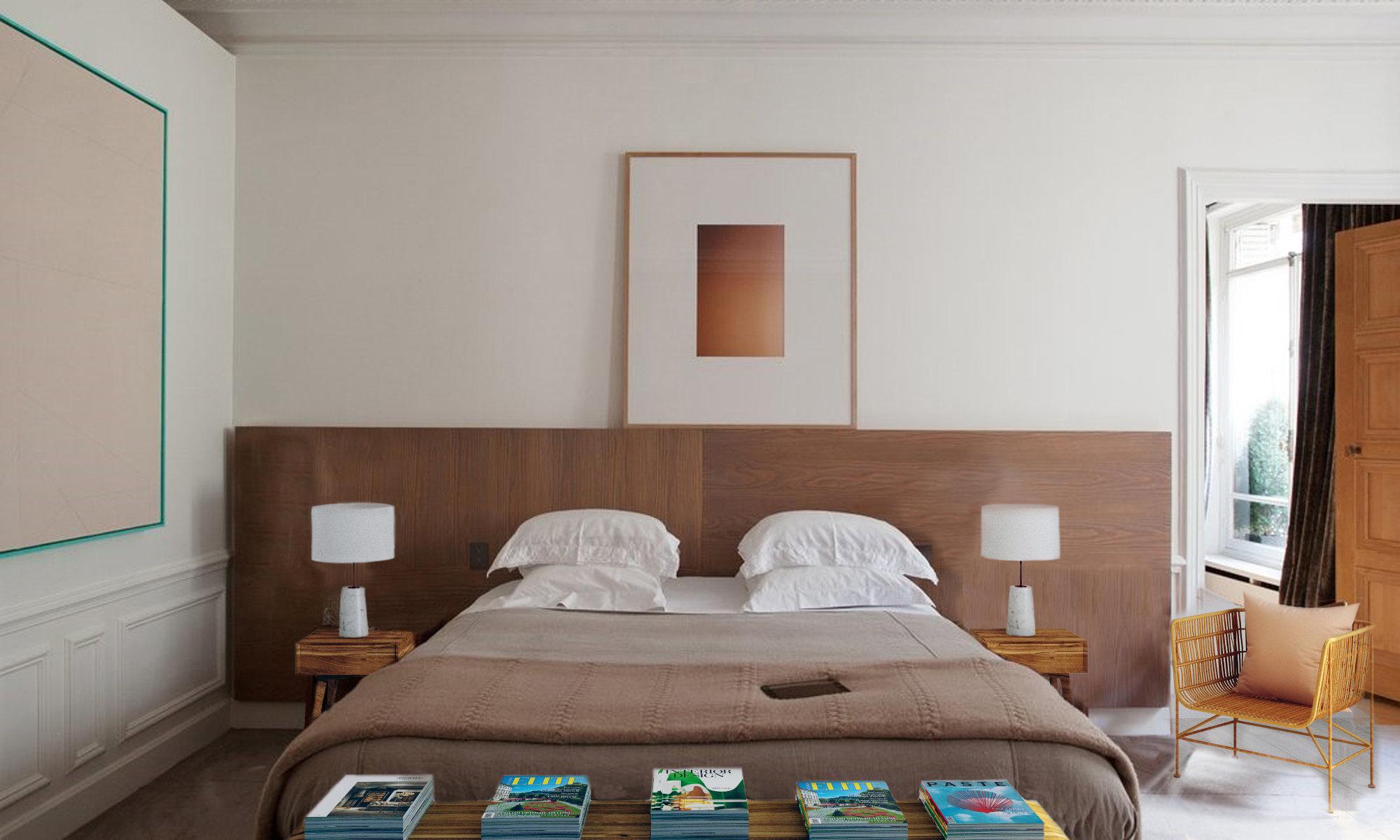 La chambre orange : inspiration style Contemporain