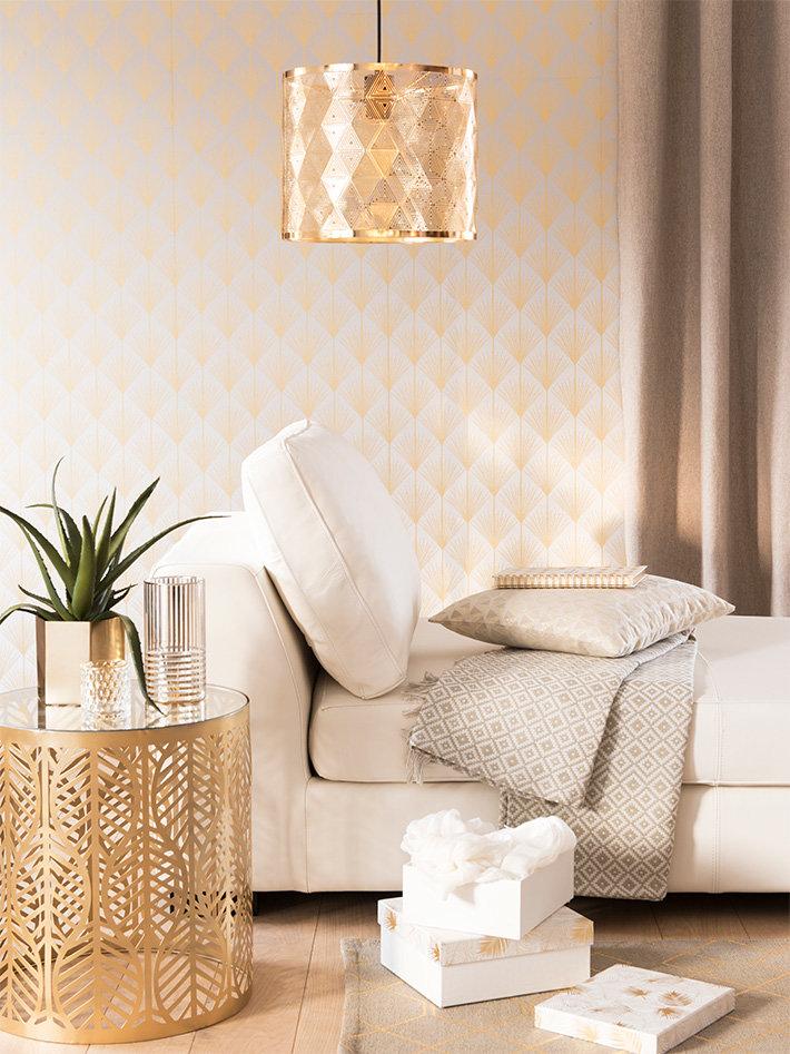 Salon contemporain scandinave doré blanc textile métal bois