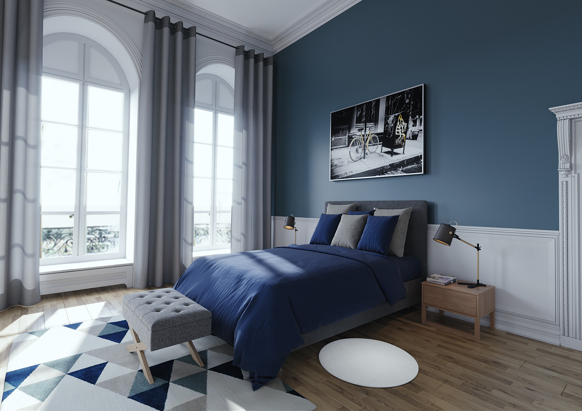chambre scandinave classique blanche bleue grise inspiration style scandinave. Black Bedroom Furniture Sets. Home Design Ideas