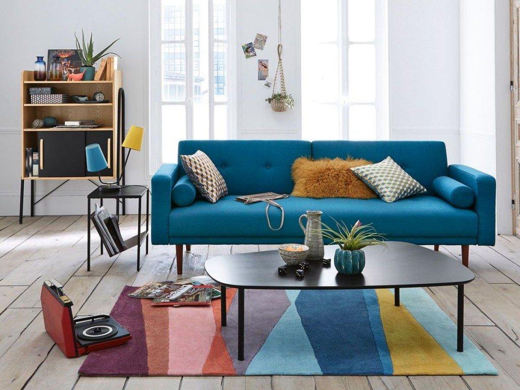 Salon bleu vintage: budget déco style Scandinave
