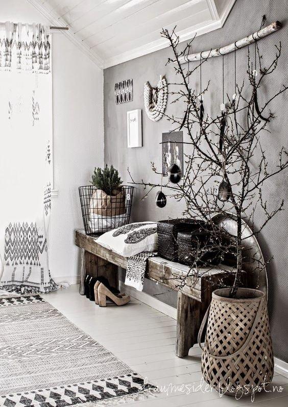 hall d 39 entr e scandinave inspiration style scandinave bois m tal textile parquet en gris. Black Bedroom Furniture Sets. Home Design Ideas