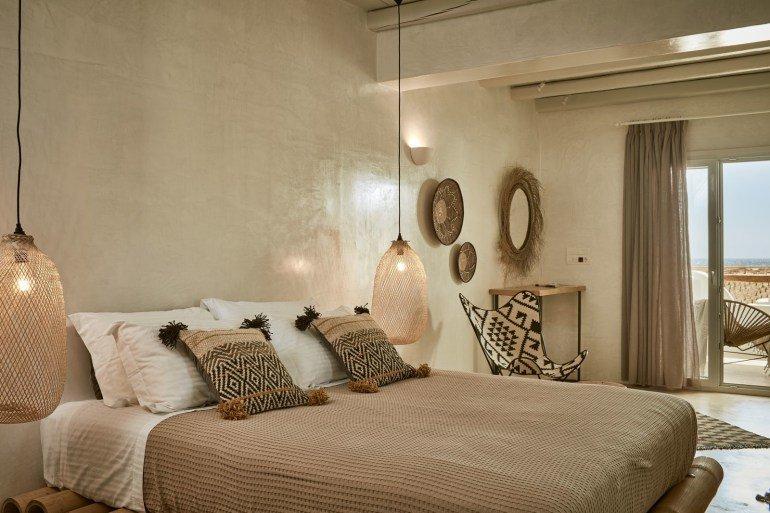 Chambre Ethnique chambre ethnique marron blanc noir osier rotin bois textile