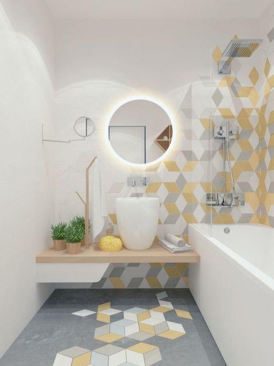 Salle de bain jaune gris blanc : inspiration style Contemporain ...