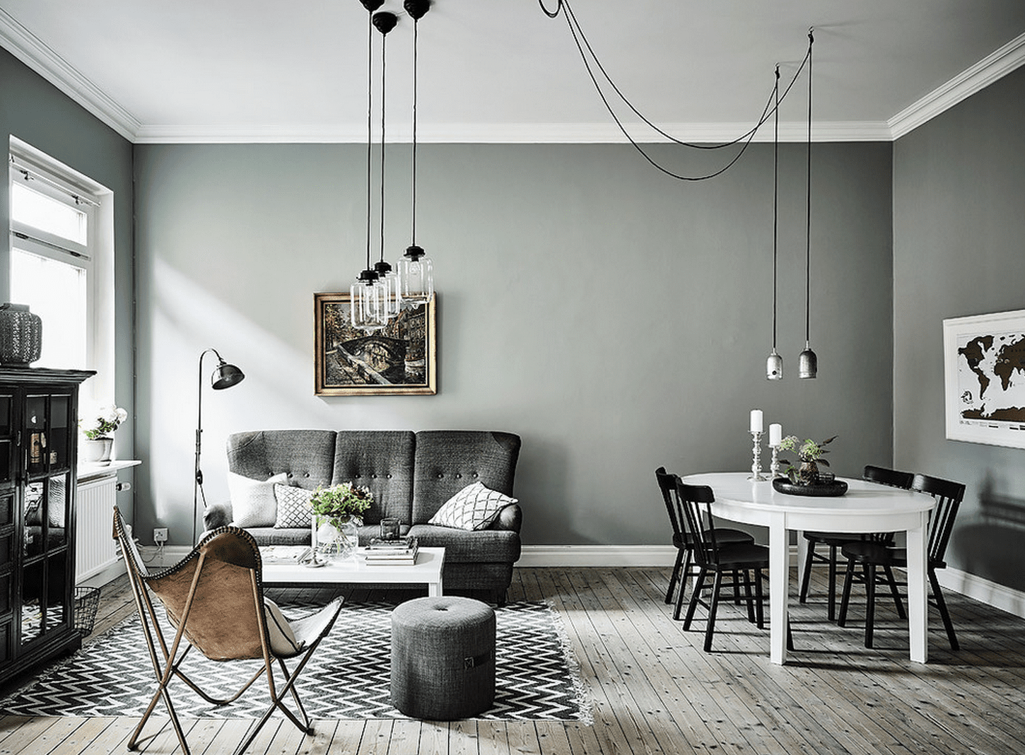 Le gris vert dans la d co salon scandinave industriel inspiration style contemporain - Salon deco industriel ...