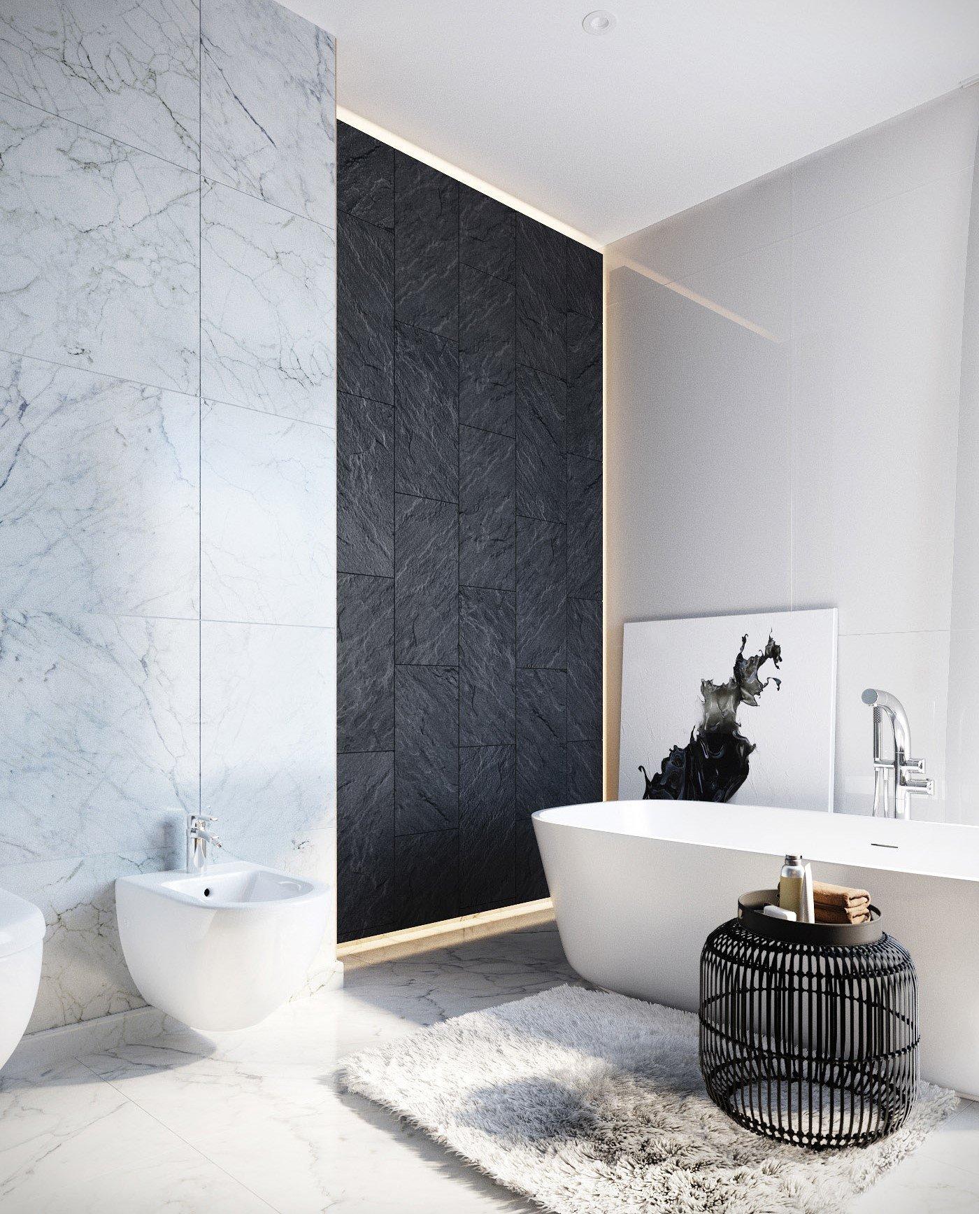 Salle de bain contemporaine blanche noire gris métal marbre textile ...