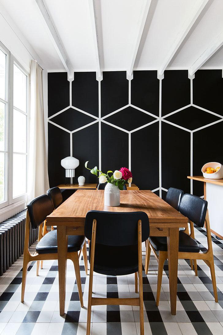 Salle A Manger Graphique Vintage Noir Blanc Gris Bois Cuir Papier