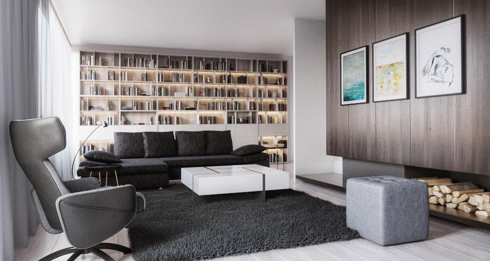 Salon contemporain gris marron: inspiration style Contemporain