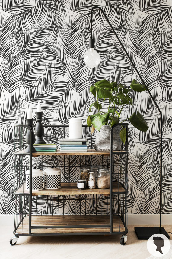 papier peint imprim feuillage inspiration style boh me. Black Bedroom Furniture Sets. Home Design Ideas