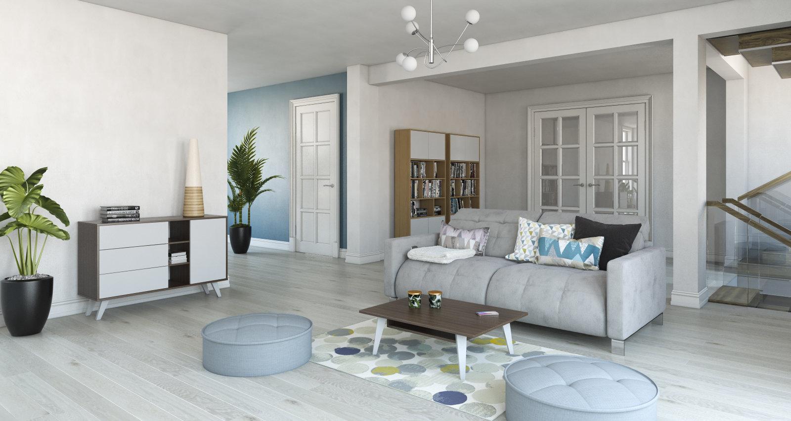 Salon scandinave beige blanc bleu: inspiration style Scandinave ...