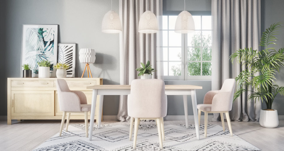 Salle à manger nature scandinave beige blanche grise : inspiration ...