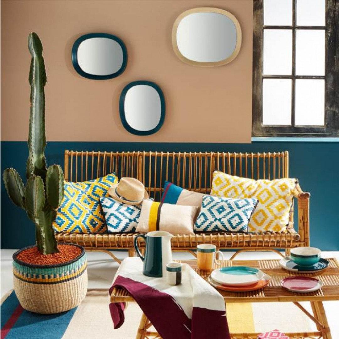 La décoration prend des airs d\'Amérique du Sud salon bleu jaune ...