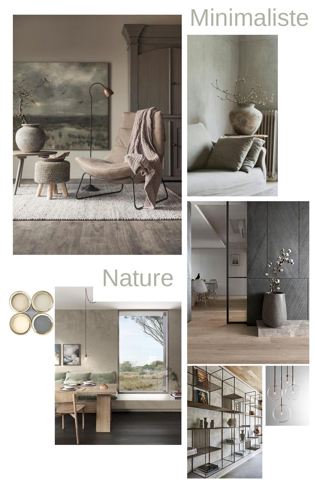 Studio minimaliste nature métal bois