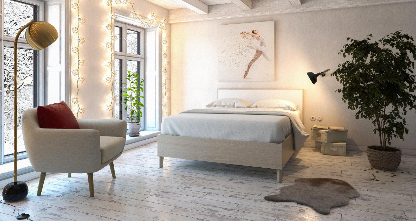 Chambre scandinave contemporaine beige blanche: inspiration style ...